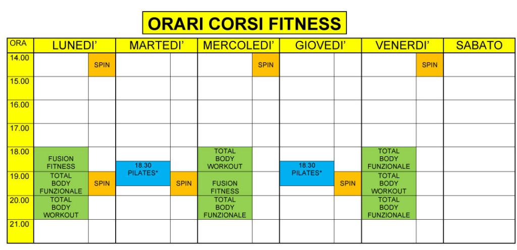 ORARI CORSI FITNESS
