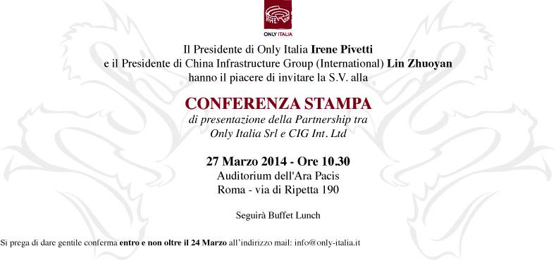 """retesolidale invitata alla conferenza stampa di presentazione della partnership tra """"Only-Italia Srl"""" e """"Cig Int. Ltd"""""""