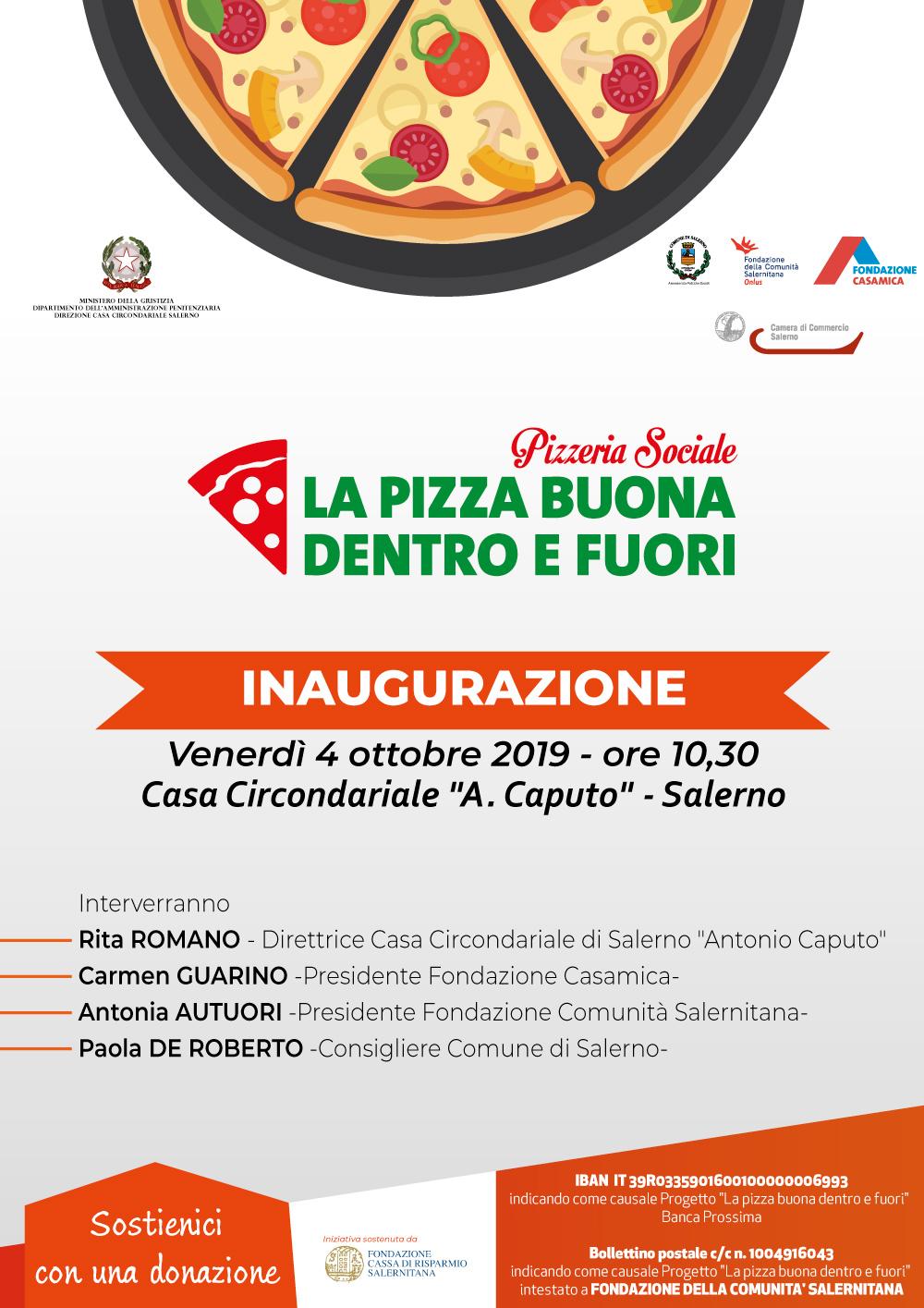 """Inaugurazione alla Casa Circondariale """"A. Caputo"""" di Salerno della Pizzeria Sociale """"La Pizza Buona Dentro e Fuori""""."""